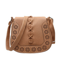 Brand New Retro Hollow Out Small PU Leather Crossbody Bag
