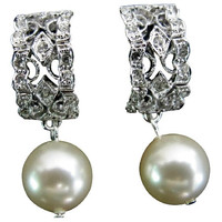 ERC862 Bridal Wedding Drop Ivory Pearl Post Earrings Free Shipping In US