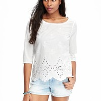 Women's Embroidered 3/4-Sleeved Tops