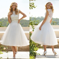 Sexy Women A Line High Collar Tea Length Tulle Appliques Wedding Lace Dress = 5739483457