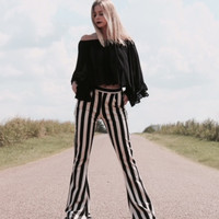 Striped Bell Bottoms with Zipper