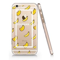 Banana Pattern Customized Text Slim Iphone 6 6S Case, Clear Iphone 6 6S Hard Cover Case For Apple Iphone 6/6S -Emerishop (iphone 6)