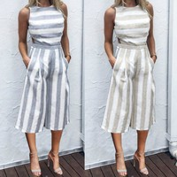 Jumpsuits For Women 2017 Women Sleeveless Striped Jumpsuit Casual Clubwear Wide Leg Pants Outfit#20