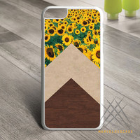Sunflower Chevron Woodgrain Marble Custom case for iPhone, iPod and iPad