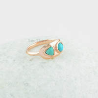 Arizona Turquoise Two Tiny Stone Sterling Silver Ring, Turquoise Round and Trillion Stone Rose Gold Silver Ring Jewelry - #SB-50018