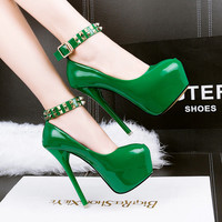 rivet  pumps Party shoes sexy High Heels women shoes heels zapatos mujer stilettos heels wedding shoes ankle straps heels D816