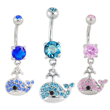 CZ Sparkly Whale Dangle Belly Button Navel Ring at FreshTrends.com