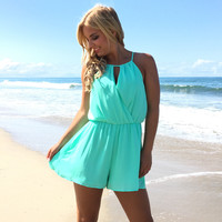 Out Of The Way Romper In Mint