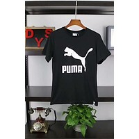 PUMA Counter New Cotton Sweat Breathable Classic Logo Large Print Quality Short Sleeve F-ADD-MRY Black