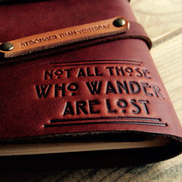 """50% OFF! Not All Who Wander Refillable Leather Journal...Made in Portland...Use Code """"BigSale"""" Small only 20 Dollars, Wow!"""