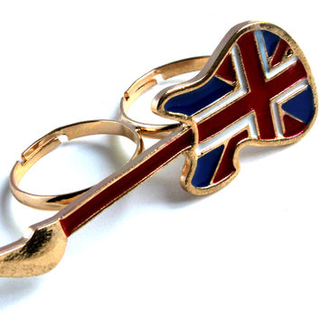 """""""Rock Star Guitar"""" Gold Two Finger Ring With British Flag Accent"""