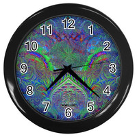 Psychedelic black light clock-wall-trippy rave