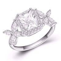 Emerald Cut Butterfly Accented Cubic Zirconia Ring