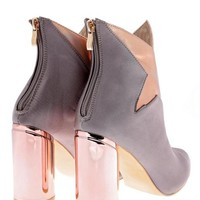 Grey Satin Contrast Star Ankle Boots