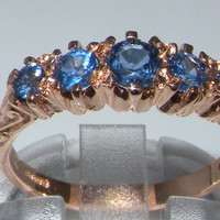 English 9K 9ct Rose Gold Genuine Blue Sapphire Eternity Anniversary Ring - Made in England - Supplied in Your Finger Size