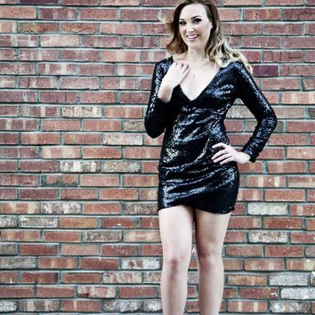 The Power Play Black Sequin Dress
