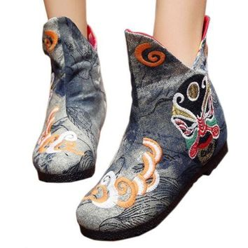 Vintage Beijing Cloth Shoes Embroidered Boots grey thin shoes 35
