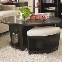 Westwood Contemporary Round Cocktail Table With 2 Cream Leather Wedge Stools by Bernhardt at Stoney Creek Furniture