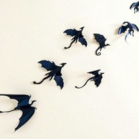 Gothic Medieval 7 piece Dragon 3D Wall Stickers