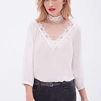 LOVE 21 Lace-Paneled Blouse Cream