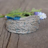 Dainty bracelet, summer jewelry, beaded bracelet in gray and teal, linen bracelet, delicate jewelry, 2015 trends, tiny seed beads