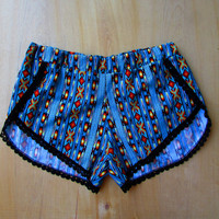 NAVAJO High Cut Track Shorts w/ Lace Trim Tribal summer beach fashion native print with pom poms festival