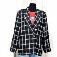 Vintage 70s Plaid blazer / jacket / size L XL / womens oversized boyfriend blazer /  1970s Evan-Piccone / black white retro blazer