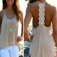 Women Summer Sexy Sleeveless Casual Loose Halter Tank Tops Vest Shirt Blouses [4920503044]