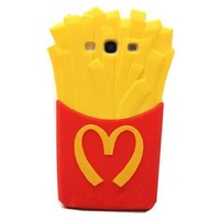 Red & Yellow i9300 NEW 3D Soft Back Cover French Fries Silicone Protective Case for Samsung Galaxy S3 i9300