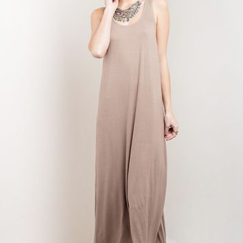 Macrame Back Mocha Maxi Dress