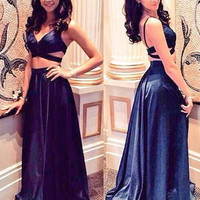 Two Piece A-Line Satin Prom Dresses