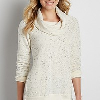 ultra soft speckled pullover sweatshirt with cowl neck | maurices