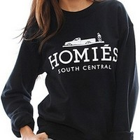 Black White Long Sleeve Crew Neck Homies South Central Graphic Sweatshirt Top