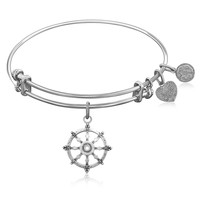 Expandable Bangle in White Tone Brass with Wheel Of Dharma Unification Symbol
