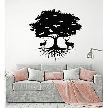 Vinyl Wall Decal Beautiful Deer Tree Animal Nature Roots Stickers Mural (g3081)