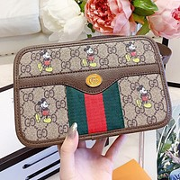 Hipgirls GUCCI & Disney New fashion mouse more letter print leather chain crossbody bag shoulder bag