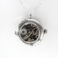 Submarine Hatch Locket in Sterling Silver
