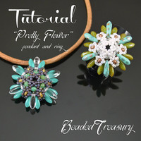 Pretty Flower - superduo bead pattern, pendant tutorial, beading tutorial, beaded ring, dagger, delica, seed beads / TUTORIAL ONLY
