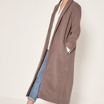 Missguided - Brown Shawl Collar Faux Wool Maxi Coat
