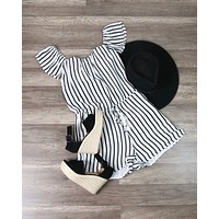 Final Sale - LIONESS - Chiffon Ivory Black Striped Off The Shoulder Strapless Romper