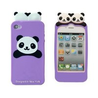 Cute PANDA Soft Silicon Back Case Cover skin for iPhone 4 4G Purple