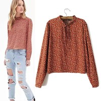 Women's Fashion Lace Floral Pullover Shirt Blouse [6047466817]