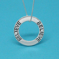 Believe necklace 925 Sterling silver washer pendant