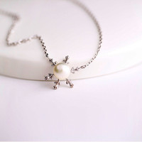 925 sterling silver Snowflake Pearl Necklace,simple silver necklace,a dainty gift