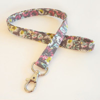 Floral Lanyard / Flowers / Keychain / Gray Floral Print / Key Lanyard / ID Badge Holder / Flower Keychain / Pretty Lanyard / Fabric Lanyards