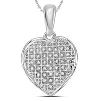 Sterling Silver Women's Round Diamond Heart Pendant 1-10 Cttw - FREE Shipping (US/CAN)
