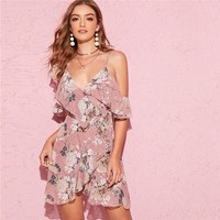 Pink Botanical Print Cold Shoulder Ruffle Wrap Dress Women Deep V Neck Asymmetrical Dress Boho Slip Floral Dresses
