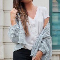 Won't Burst My Bubble Knitted Cardigan (Sage)
