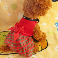 The spring and autumn clothing and pet clothing dog clothes acrylic Christmas red plaid skirt = 1945779588