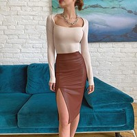 fhotwinter19 Explosive fashion sexy temperament split short hip leather skirt